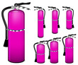 set of pink fire extinguisher isolated on white background