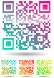 set of color qr code isolated on white background