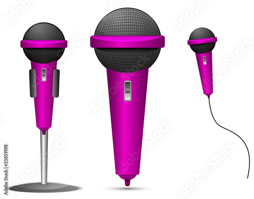 set of pink microphone isolated on white background