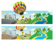 Hot-air balloon flying over landscapes, vector