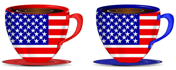 set of usa coffee cups isolated on white background