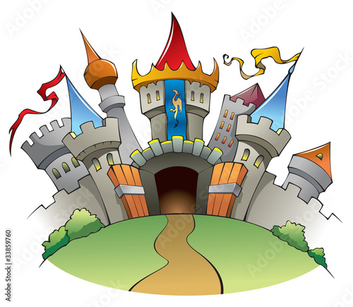Foto op Canvas Kasteel Medieval castle, cartoon vector illustration