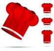 set of red chef's hat isolated on the white background