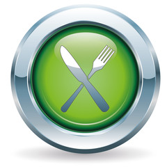 Gabel und Messer - Button grün