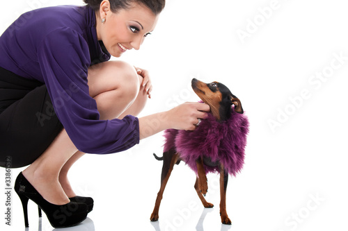 sexy woman plying with her fancy dog