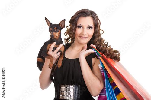 shopping posh girl with miniature pinscher