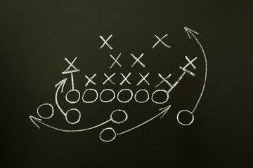 Game strategy drawn on blackboard