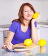 woman with lemons