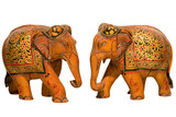 handcrafted wooden elephants,Jaipur ,Rajasthan, India poster