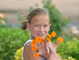 Girl with Orange Flowers on Her Fingers