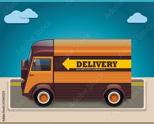 Vector retro delivery van XXL icon