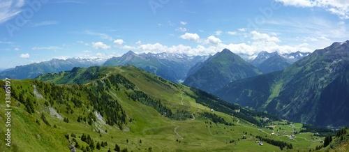 fototapete panoramabild der alpen fototapeten aufkleber poster leinwandbilder. Black Bedroom Furniture Sets. Home Design Ideas