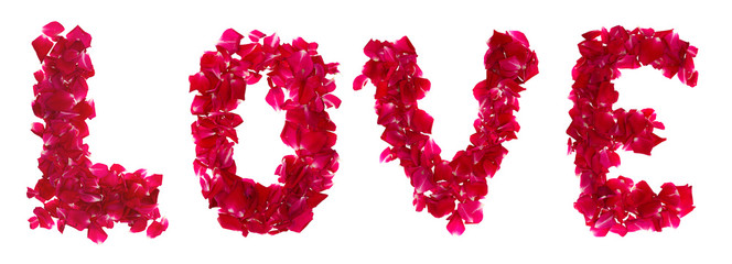 Pink rose petals forming letter  love on white