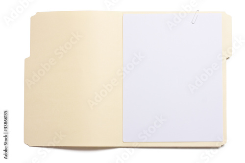 Blank opened file folder with empty white paper