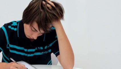 concentré dans ses devoirs