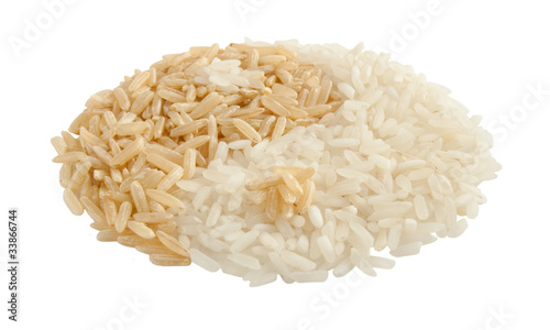 yin yang sign made of brown and white rice