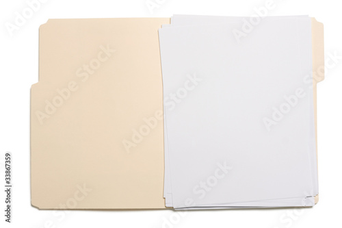 Opened file folder with blank paper