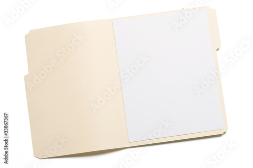 Opened file folder with white paper inside isolated on whtie