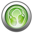 "Green glossy 3D effect button ""Headphones"""