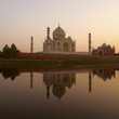 Taj Mahal from north bank of Yamuna river at sunset.