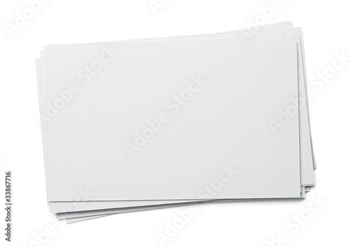 Blank white index card isolated on white