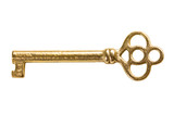 Antique gold key isolated on white background
