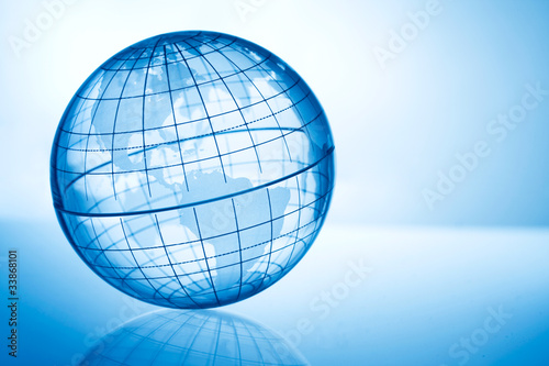 Transparent blue globe showing America