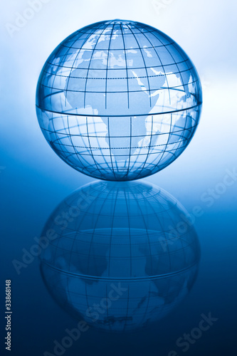 Transparent blue globe showing Africa and Europe