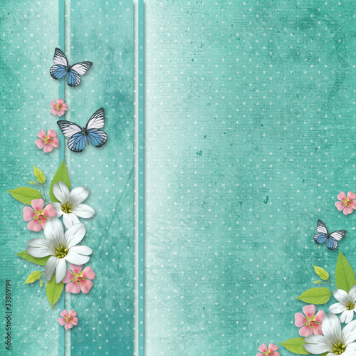 background  with flowers and butterfly