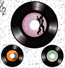 retro 45 rpm record labels