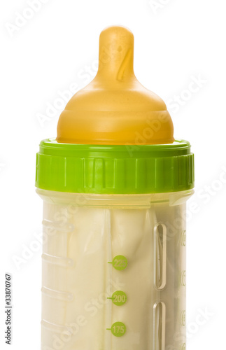 Closeup of baby bottle isolated on white