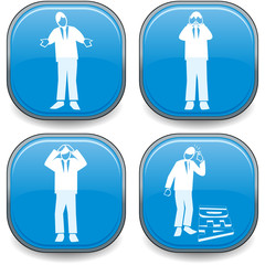 Four symbolised business lozenges blue-ideas and frustration