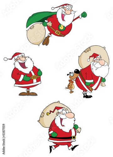 Santa Claus Waving A Greeting.Vector Collection