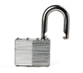 Close up of padlock isolated on white background.