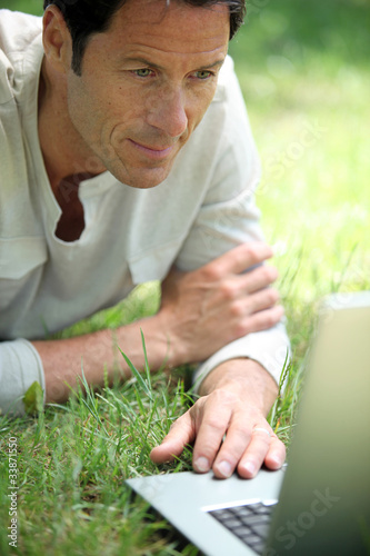 Man working on the grass