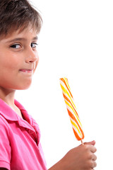 boy with giant lollipop