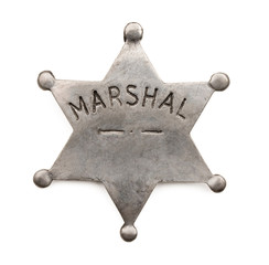 Vintage six point marshal star badge isolated on white