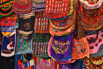 Colorful handbags at street market