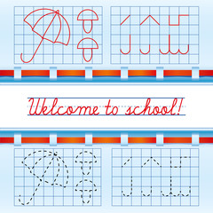 Welcome to school card with red ribbon, vector