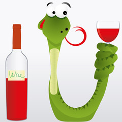 Drunk snake keeps wine goblet its tail, vector illustration