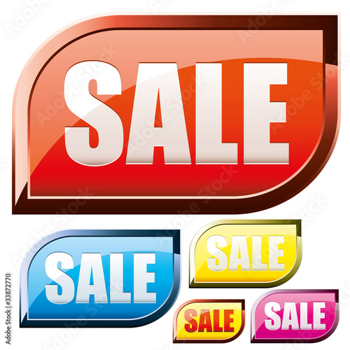 Set of colored shiny sale buttons, vector illustration