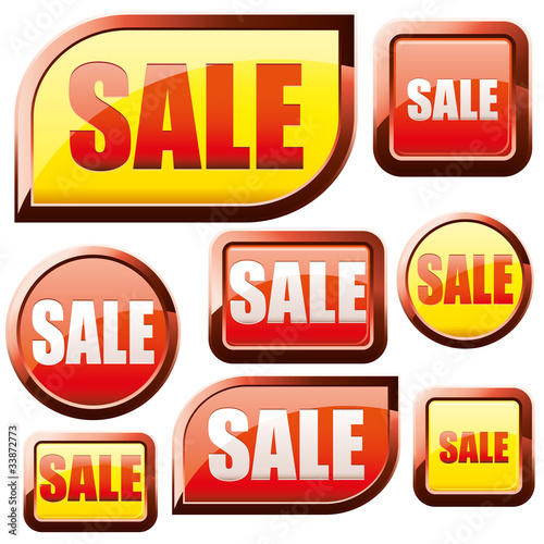 Set of red and yellow shiny sale buttons, vector