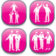 Four symbolised business lozenges magenta-teamwork