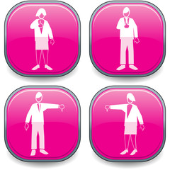 Four symbolised business lozenges magenta-thumbs