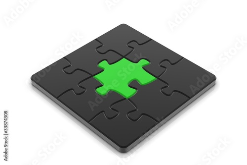 Puzzle. White background, 3d render