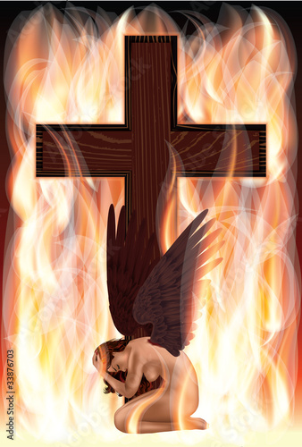 Fallen angel and cross. vector illustration