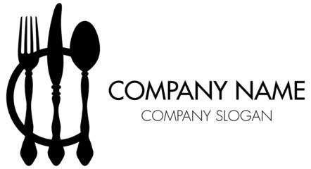 Abstract Company Logo Cutlery & Plate