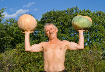 Man with pumpkins 11