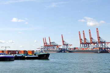Container ship in harbor of rotterdam with colorful cranes