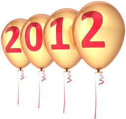 New 2012 Year balloons party decoration golden with red text